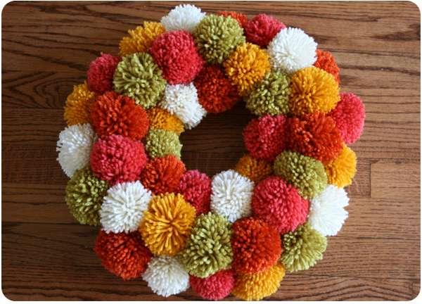 Thanksgiving pom pom wreath