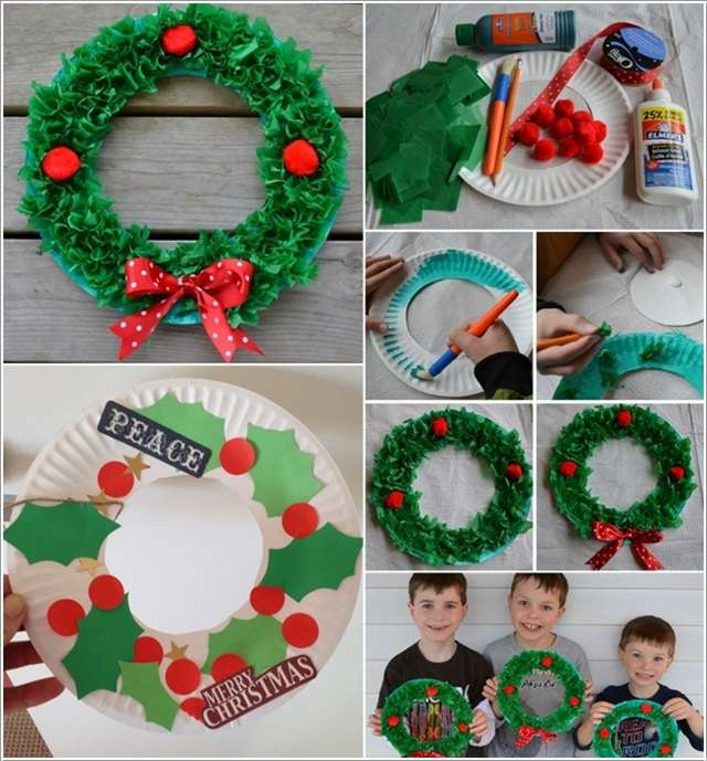 3. Christmas Leaves and Berries Wreaths  sc 1 st  Amazing Interior Design & 13 Awesome Paper Plate Christmas Decoration Craft Ideas