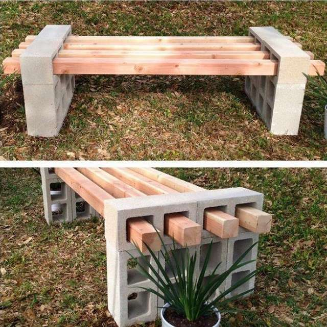 Cinder Block Outdoor bench