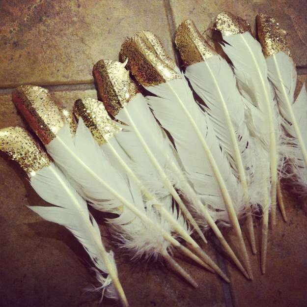Glitter Covered Feathers