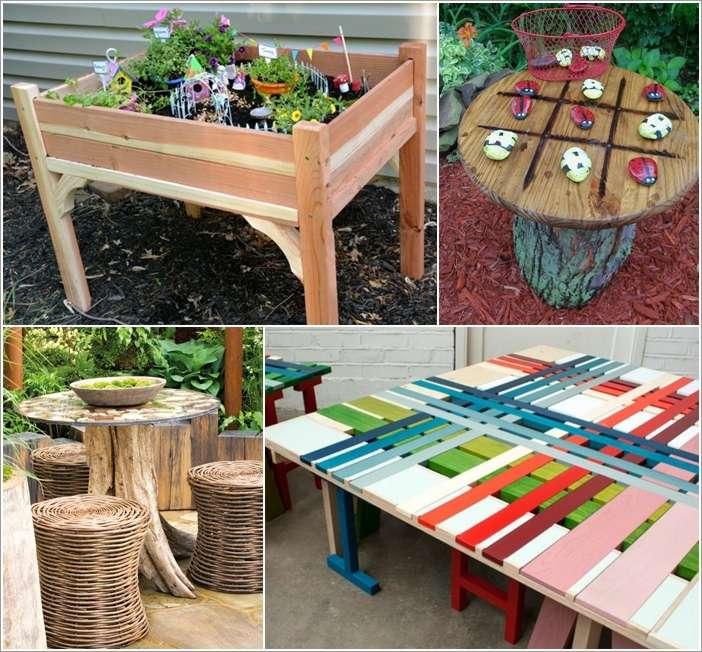 10 totally fun diy garden table ideas for your home a solutioingenieria Image collections