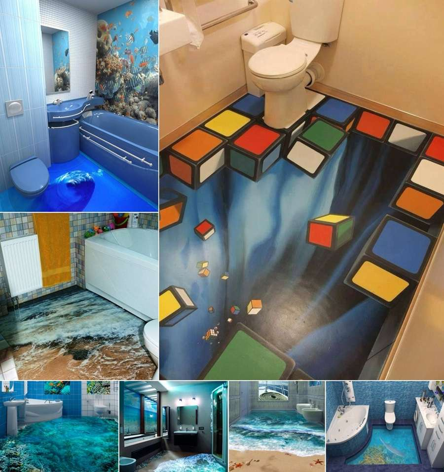 13 amazing 3d floor designs for your bathroom for Bathroom 3d floor designs