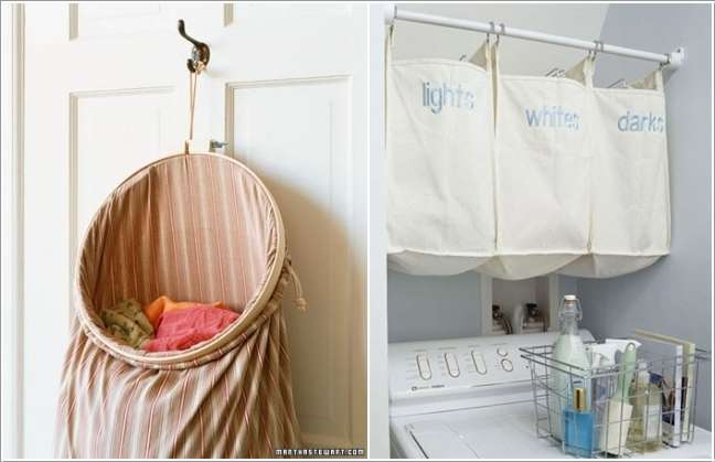 10 clever space saving ideas for a small laundry room fun corner - Laundry hampers for small spaces plan ...