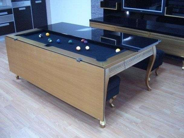 dining table that unfolds into a pool table.