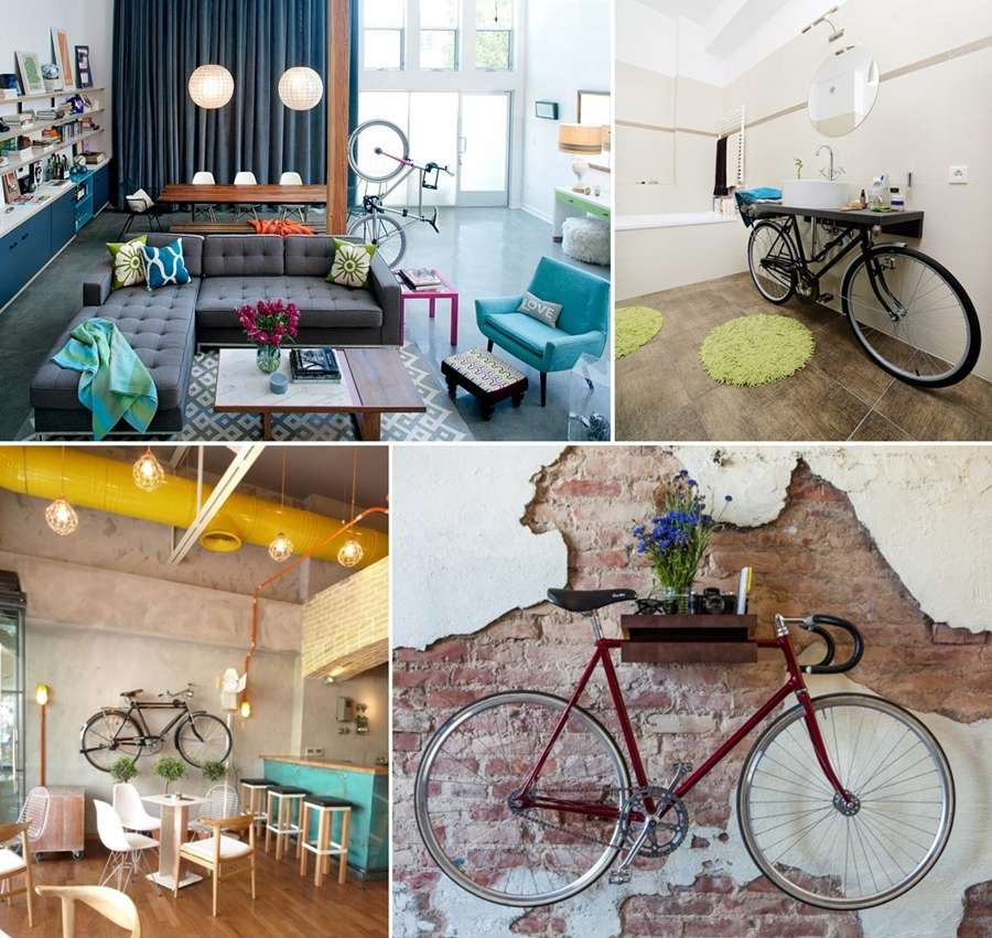15 ideas to decorate your home with bikes for Bike decorating ideas
