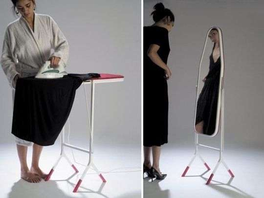 mirror that doubles as an ironing board