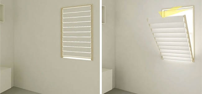 Blinds that double as a drying rack.