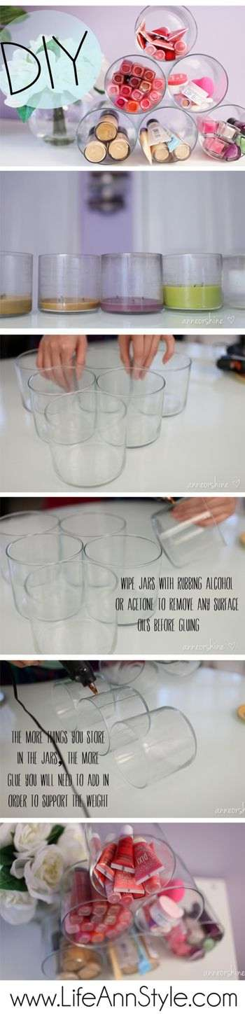 Candle Jar Pyramid Make Up Storage