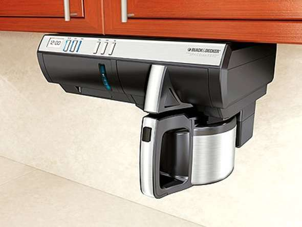 Coffee maker that attaches to the cupboard