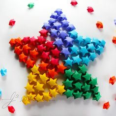 Colorful Origami Lucky Paper Stars Composition