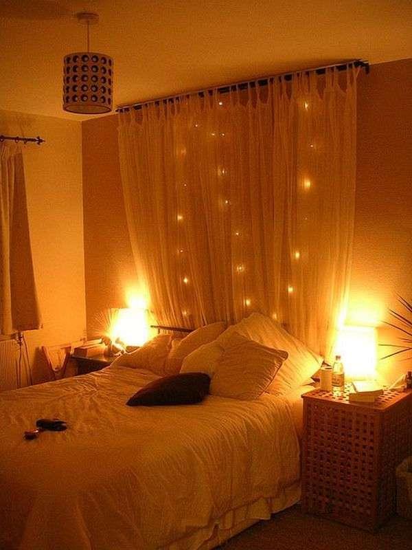 Curtain and Lights Headboard