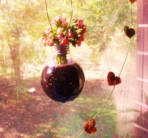 Hanging Lightbulb Flowerpot