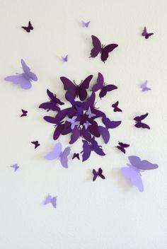 Purple Paper Butterflies Wall Art