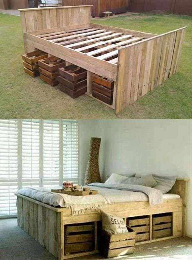 Rustic Pallet Bed with extra storage