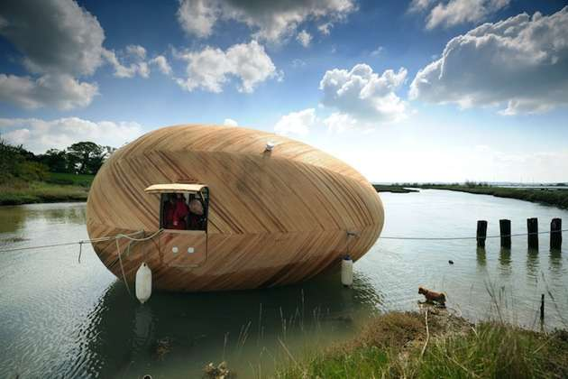 Unique floating wooden egg house
