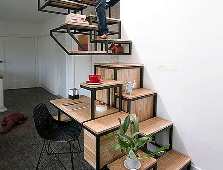 staircase doubles as storage