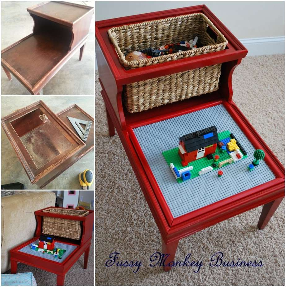 this lego table made from a step end table is so cool. Black Bedroom Furniture Sets. Home Design Ideas