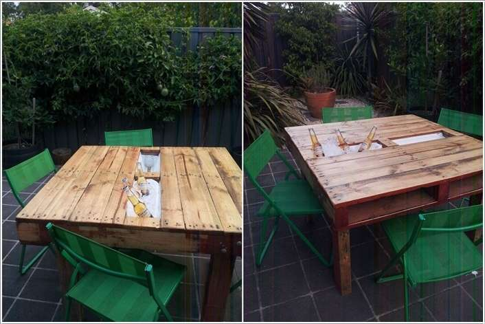 12. A Cooler Table Made From Reclaimed Pallet Wood