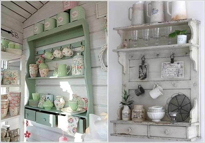 1  Go For Shelves with a Shabby Chic Design. 15 Fabulous Shelving Ideas for Your Kitchen
