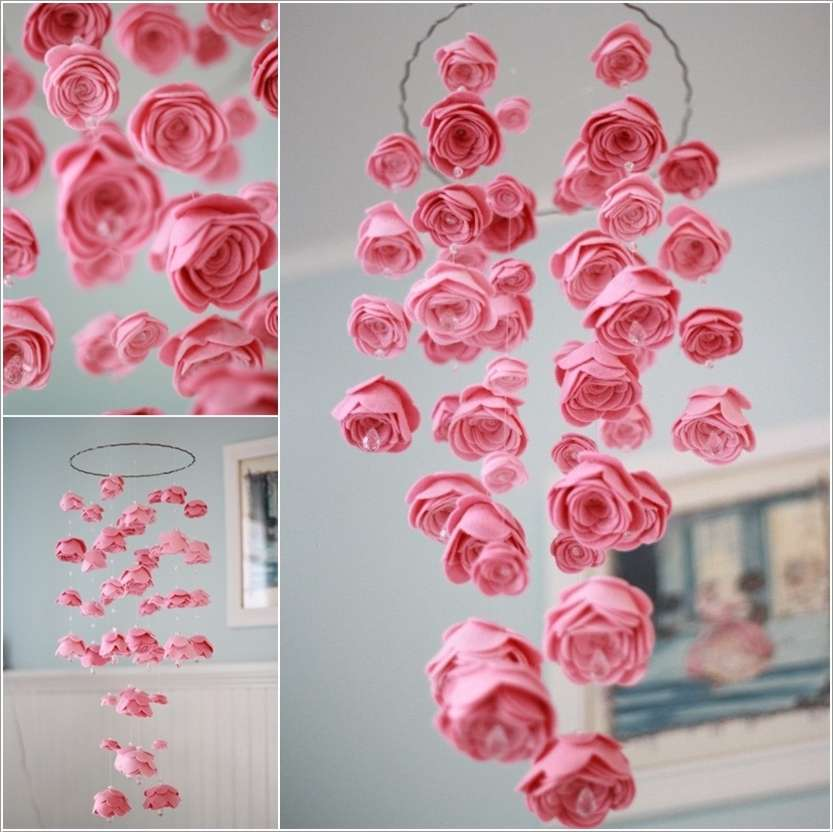 10 super cute diy ideas for your little girls 39 room for Diy felt flower mobile