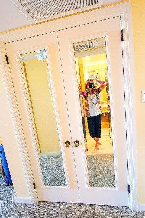 Add cheap framed mirrors to closet door