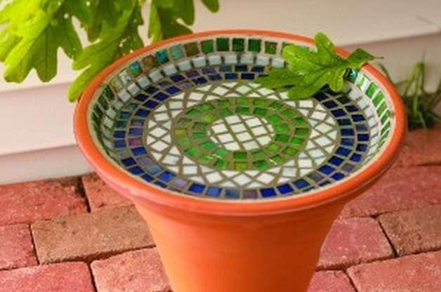 DIY mosaic bird bath