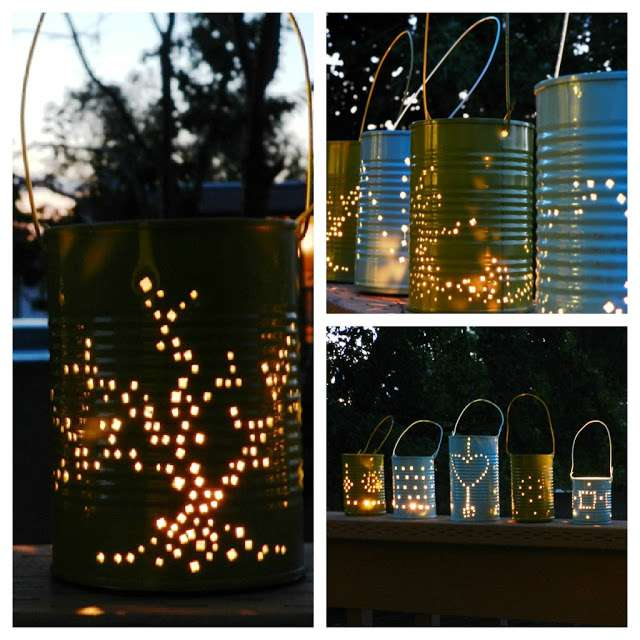 Garden lanterns from upcycled cans