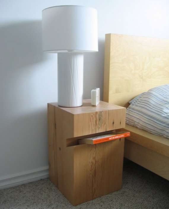 Make your own woodblock nightstand.