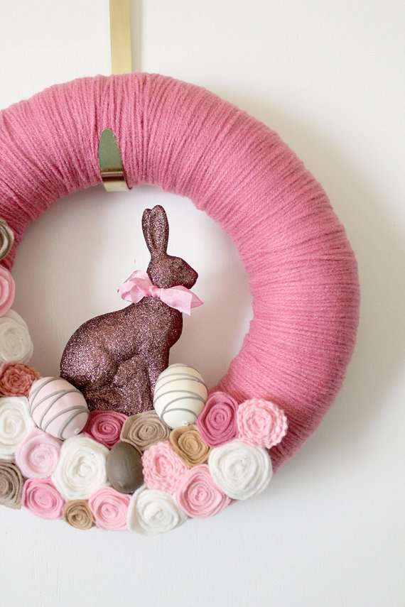 Prink Wraped Easter Wreath