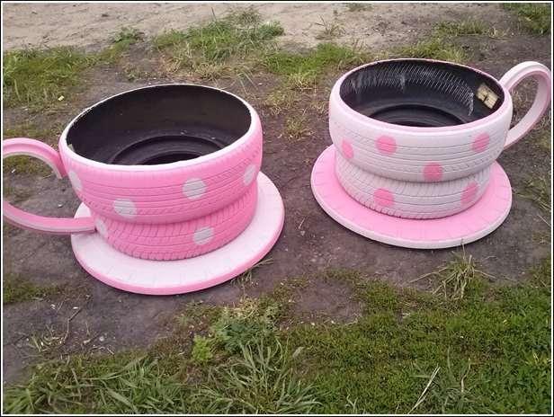 Teacup tire art