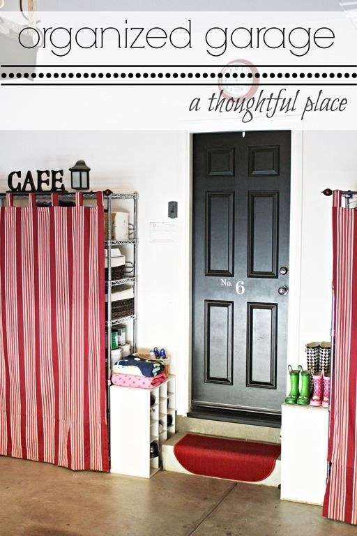 Use tab curtains to cover up unsightly wire shelving.