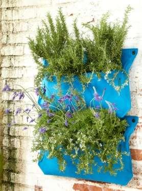 Vertical woolly pocket herb garden..