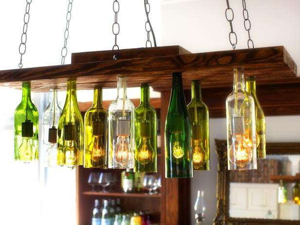 chandelier with old wine bottles