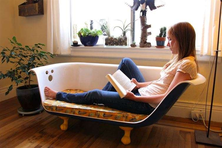 couch from an old claw-foot bathtub