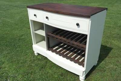 custom wine rack from an old dresser