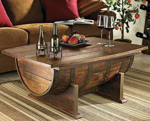old wine barrel into a coffee table