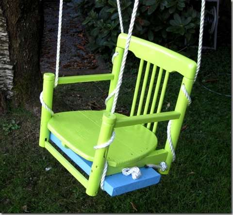 outdoor swing from an old chair