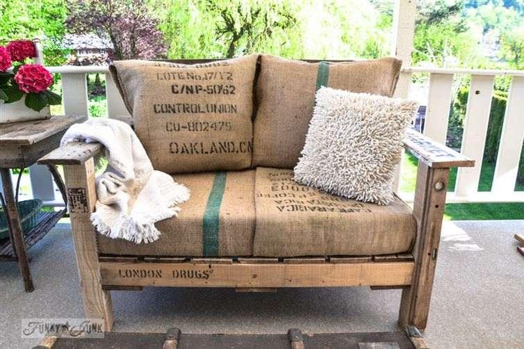 pallets to produce a unique double-wide chair