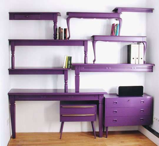 shelving unit from painted coffee tables.