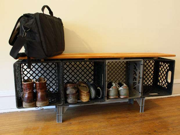 shoe organizer from old milk crates