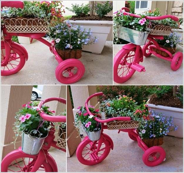 3 An Adorable Painted Tricycle Planter