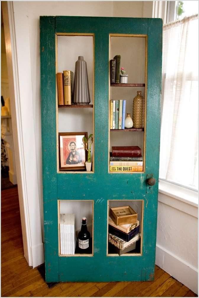 3 A Re Purposed Old Door Bookshelf