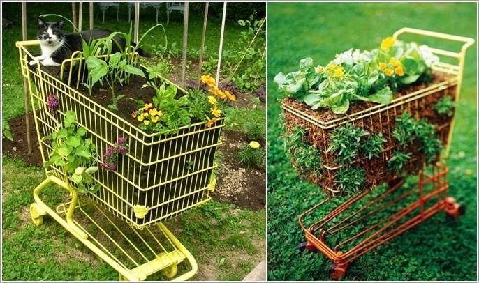 6. Shopping Cart Planters