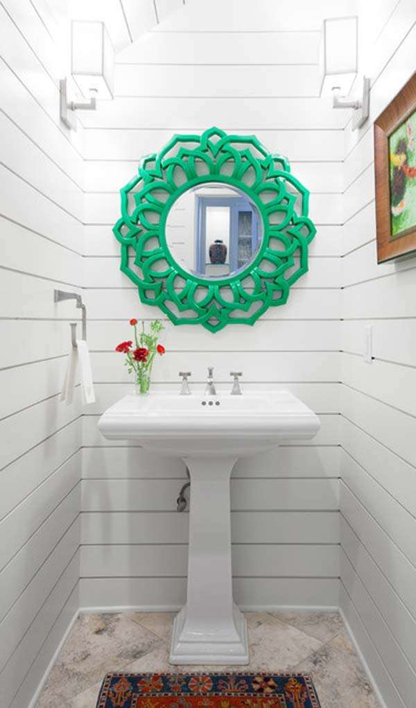 small bathroom looks. Add Decorative Round Mirror 15 Cool Ideas To Make Small Bathroom Looks Visually Bigger