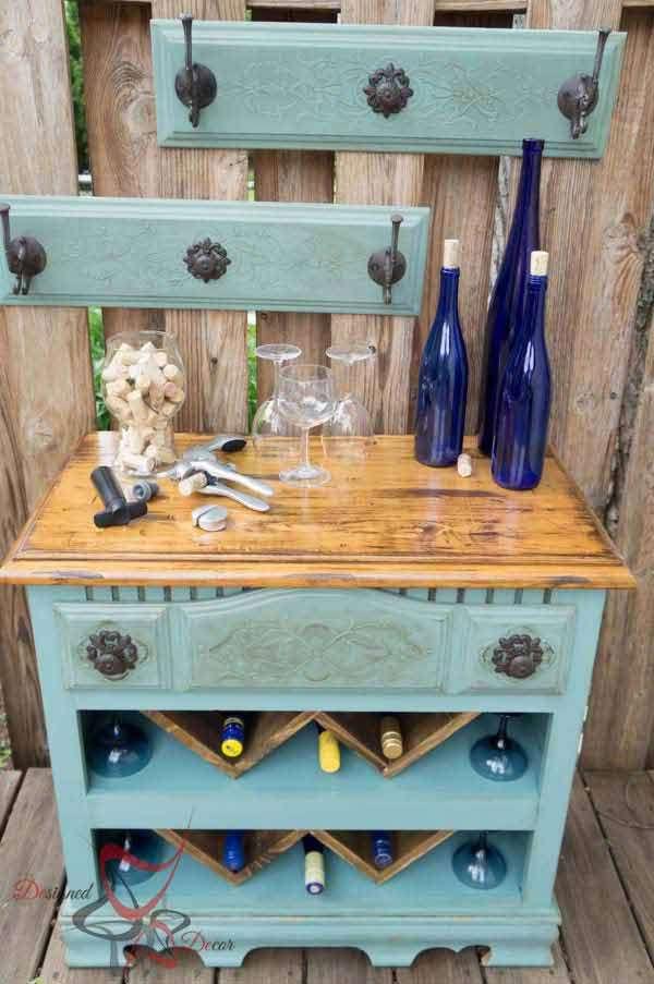 An old dresser into a wine bar
