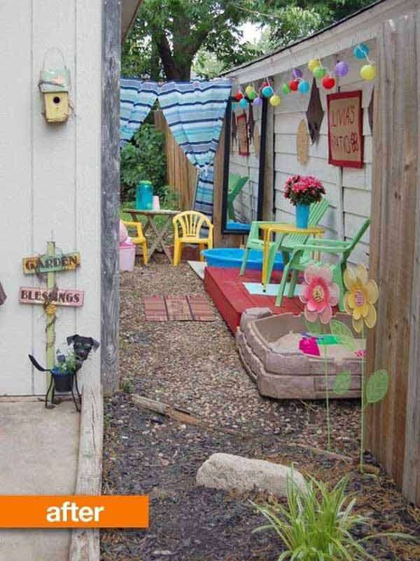 15 cool ideas for narrow and long outdoor spaces for Children friendly garden designs