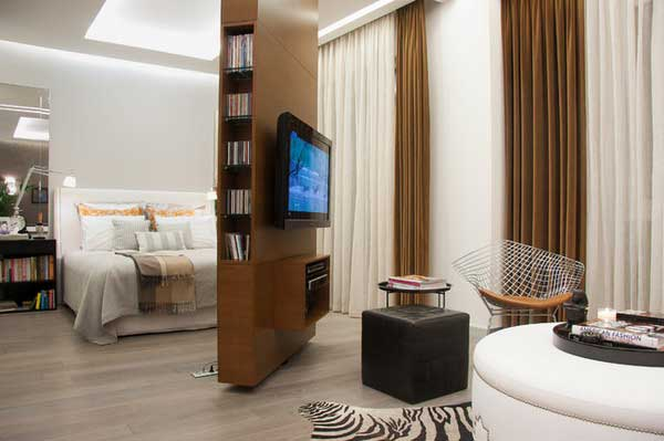 .Bookcase and TV Shelf in a Rotating Room Divider