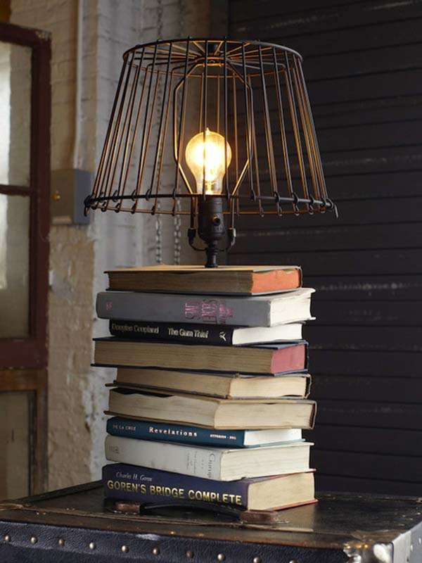 Books Used as a Lamp Base