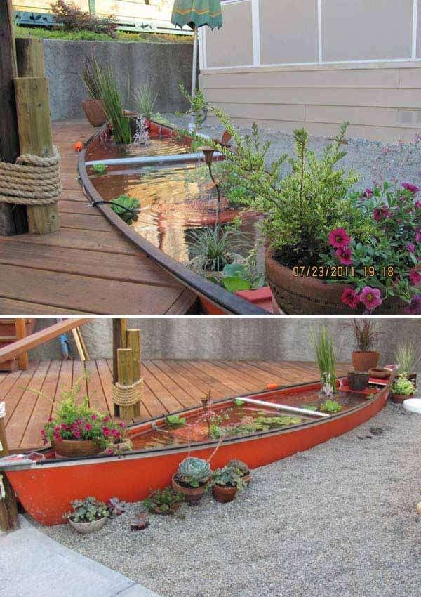 Canoe Boat Fish Pond