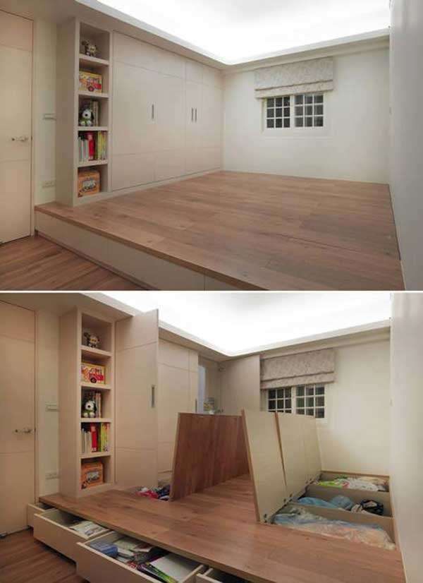 Elevated floor storage